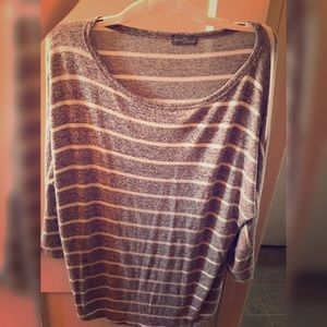Over Size Comfy Gray and White Stripe Sweater
